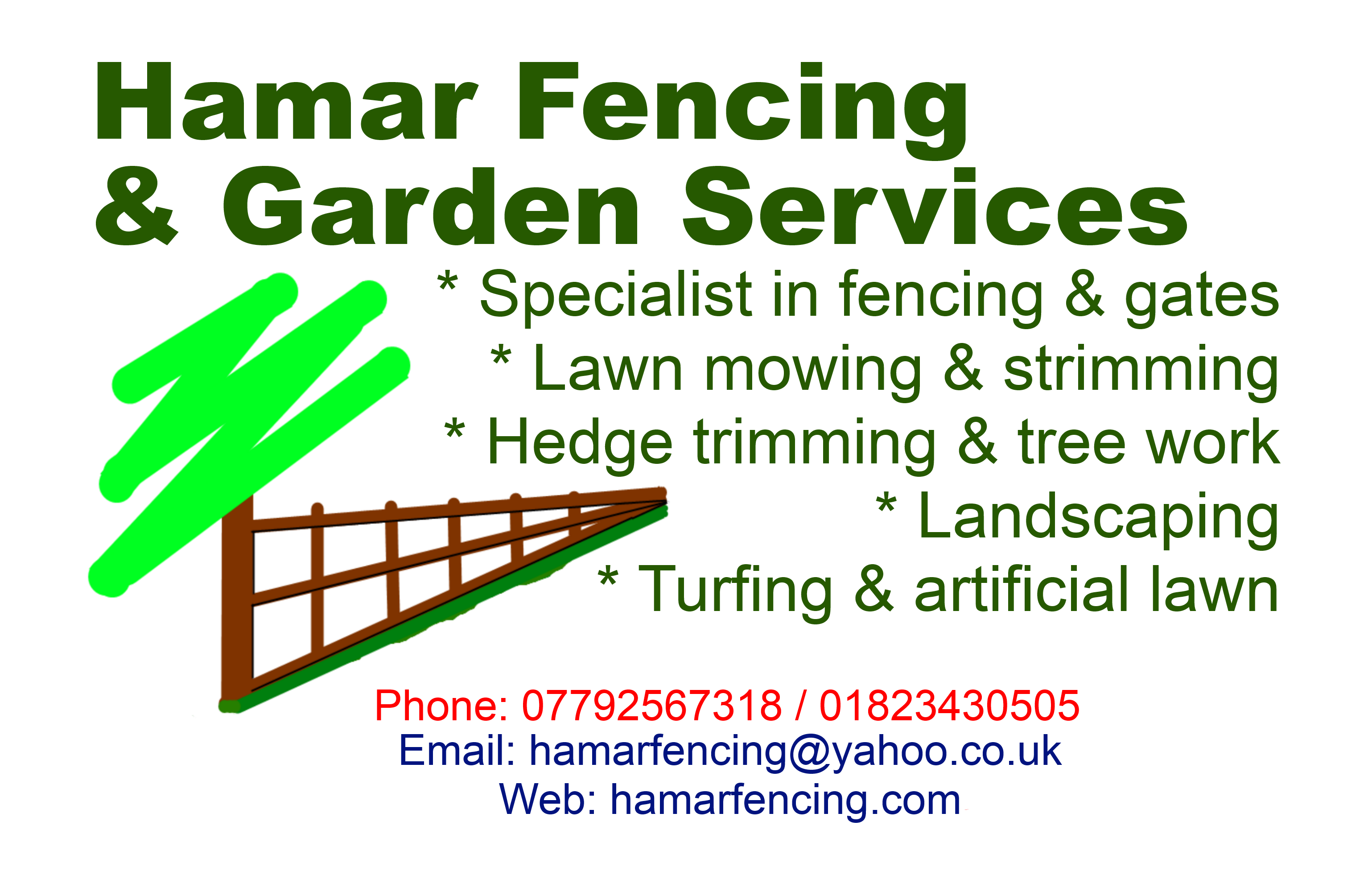 Business card 2 hamar fencing garden services business card 2 reheart Gallery
